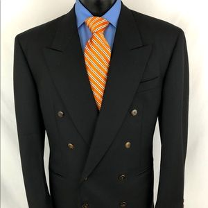 Canali Proposta Double Breasted Suit Coat Black 40